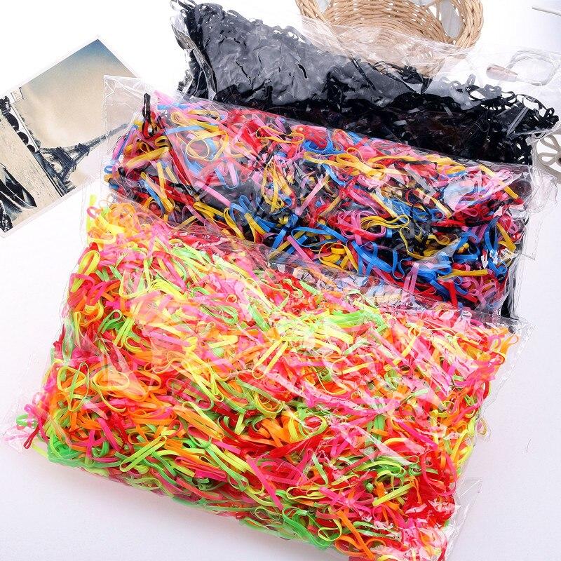 1000 unids/lote de goma desechable para el cabello, bandas de goma de TPU para niños, soporte para Coleta, banda elástica para el cabello, accesorios para el cabello para niñas Scrunchie Trenzadoras    - AliExpress
