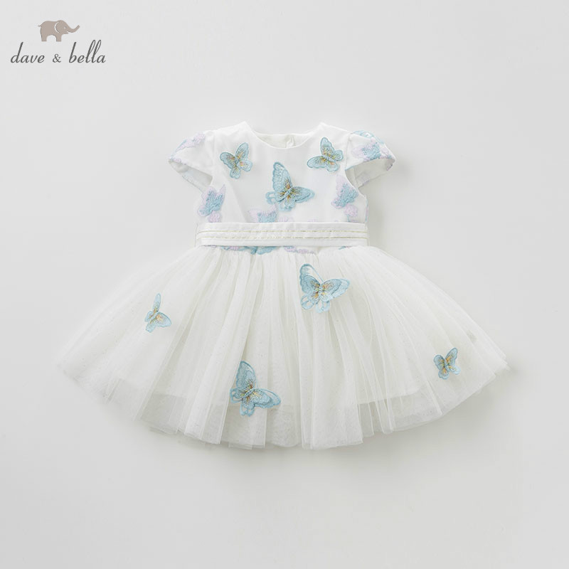 DB10519 DAVE BELLA summer baby girl princess clothes children birthday party wedding dress kids embroidered boutique