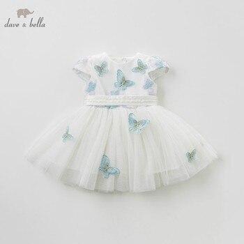 DB10519 DAVE BELLA zomer meisje prinses kleding kinderen verjaardagsfeestje trouwjurk kids geborduurde boutique jurken