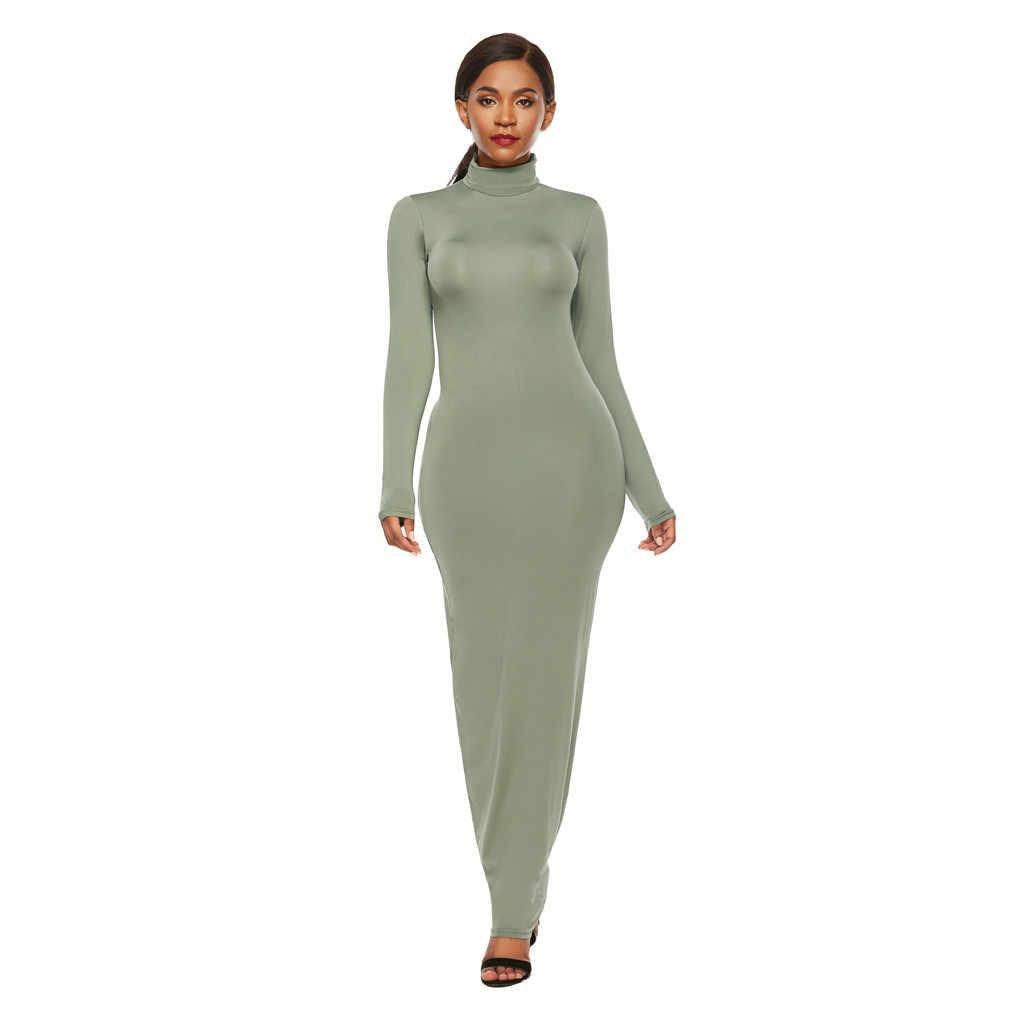 As mulheres Se Vestem de Verão 2019 Sexy Cor Sólida Do Vintage Vestido Ocasional das Mulheres Cor Sólida Gola Alta Manga Comprida Estiramento Magro vestido #50