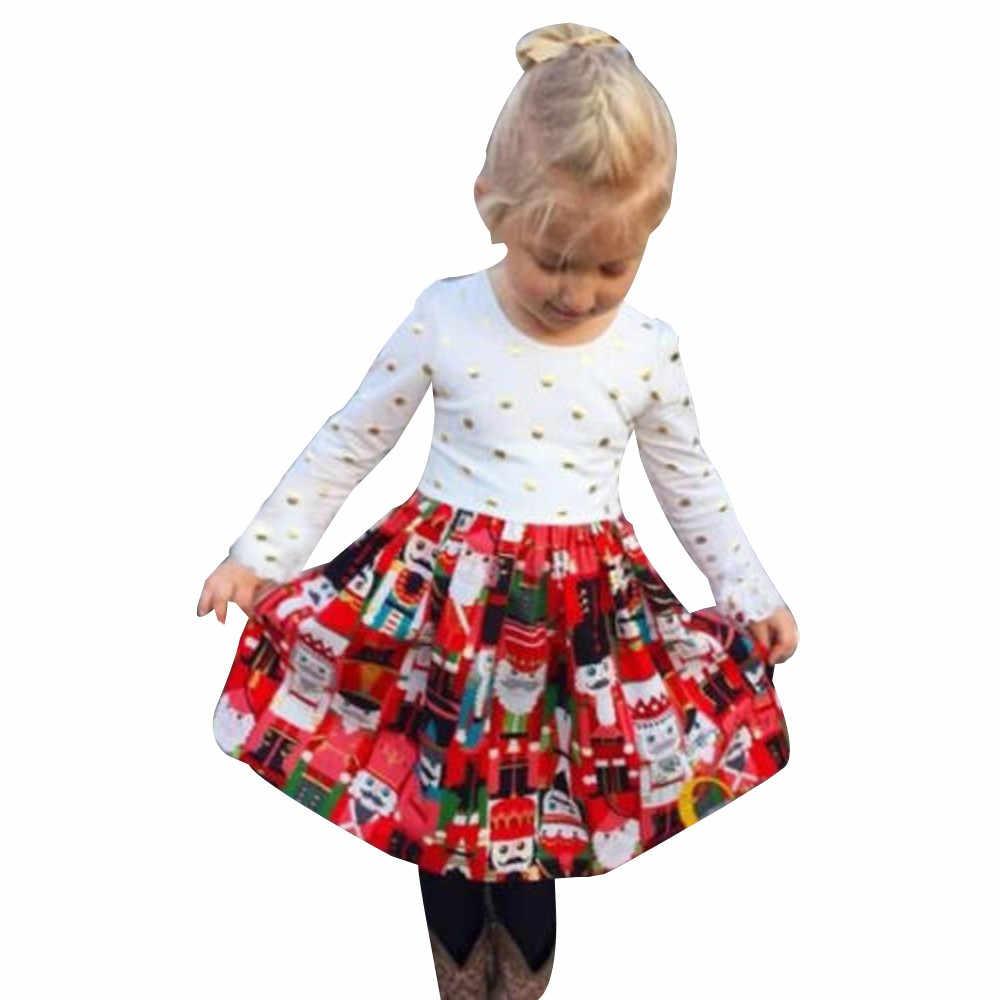 afe40d8681a Модное рождественское платье принцессы в горошек с длинными рукавами для  маленьких девочек