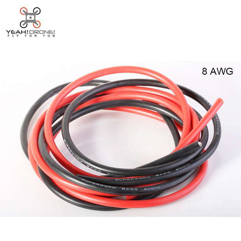 Factory supply AWG8 8Gauge 1meter Red+1meter Black Silicone Wire ...