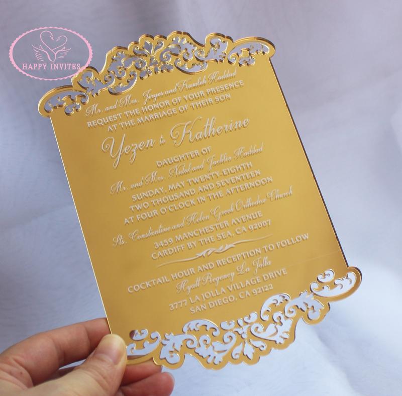Free Shipping! HI4067 Customized Gold Mirorr Acrylic Wedding ...