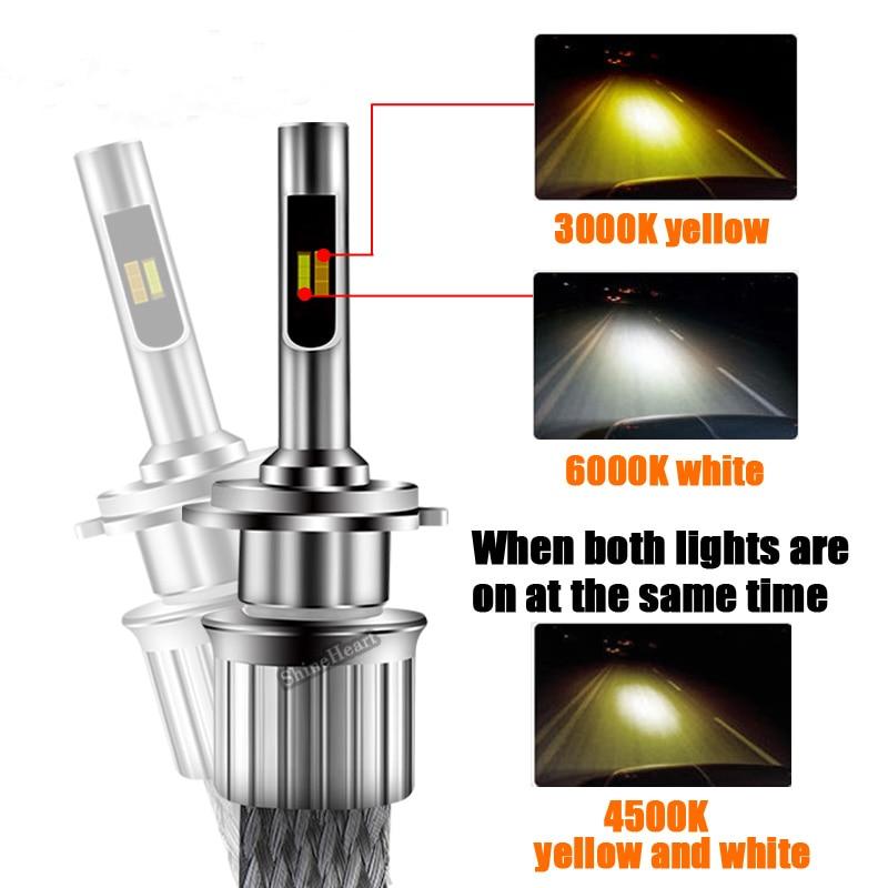 2Pcs led h4 h7 bulb Tricolor/dual color auto headlights light h1 h3 h8 h9 h10 h11 hb3 hb4 9005 9006 880 881 d1s d2s 12V 24V led
