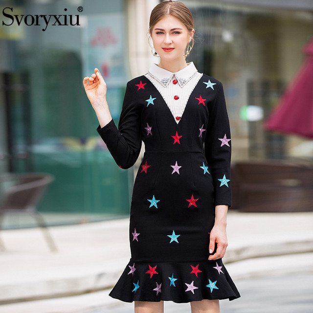 818f5d5a16a Svoryxiu Elegant Package Buttocks Mermaid Midi Dress Women s Long Sleeve  Colourful Embroidery Diamonds Runway Dress