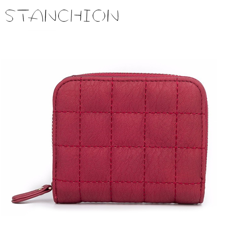 STANCHION Women Short Wallets PU Leather Female Plaid Purses Nubuck Card Holder Wallet Fashion Small Zipper Wallet  Coin Purse vintage women short leather wallets stylish wallet coin card pocket holder wallet female purses money clip ladies purse 7n01 18