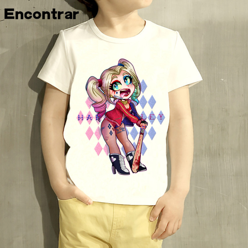 kids Suicide Squad Harley Quinn&Joker Design TShirt Boys/Girls Great Casual Short Sleeve Tops Children Cute T-Shirt,HKP5079
