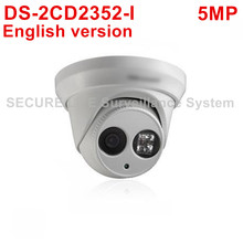 DHL Free shipping DS-2CD2352-I English version 5MP WDR EXIR turret network ip security POE camera with up to 30m IR