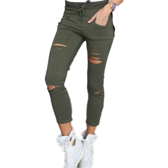 Punk Rock Fitness Workout Leggings Women Casual High Elastic Waist Hole Slim Legging Stretch Legins Pantalones Mujer Black 10