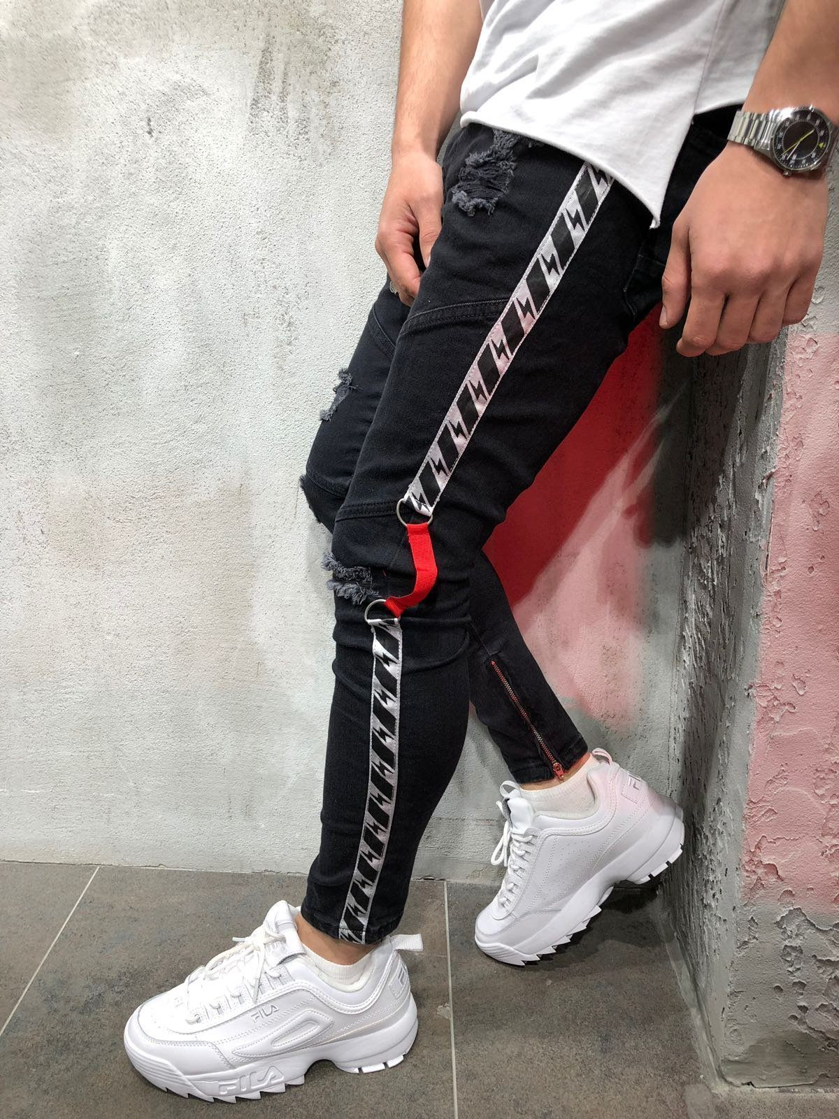 Mens Cool Designer Brand Black Jeans Skinny Ankle Zipper Stretch Slim Fit Hop Hop Pants With Side Stripe