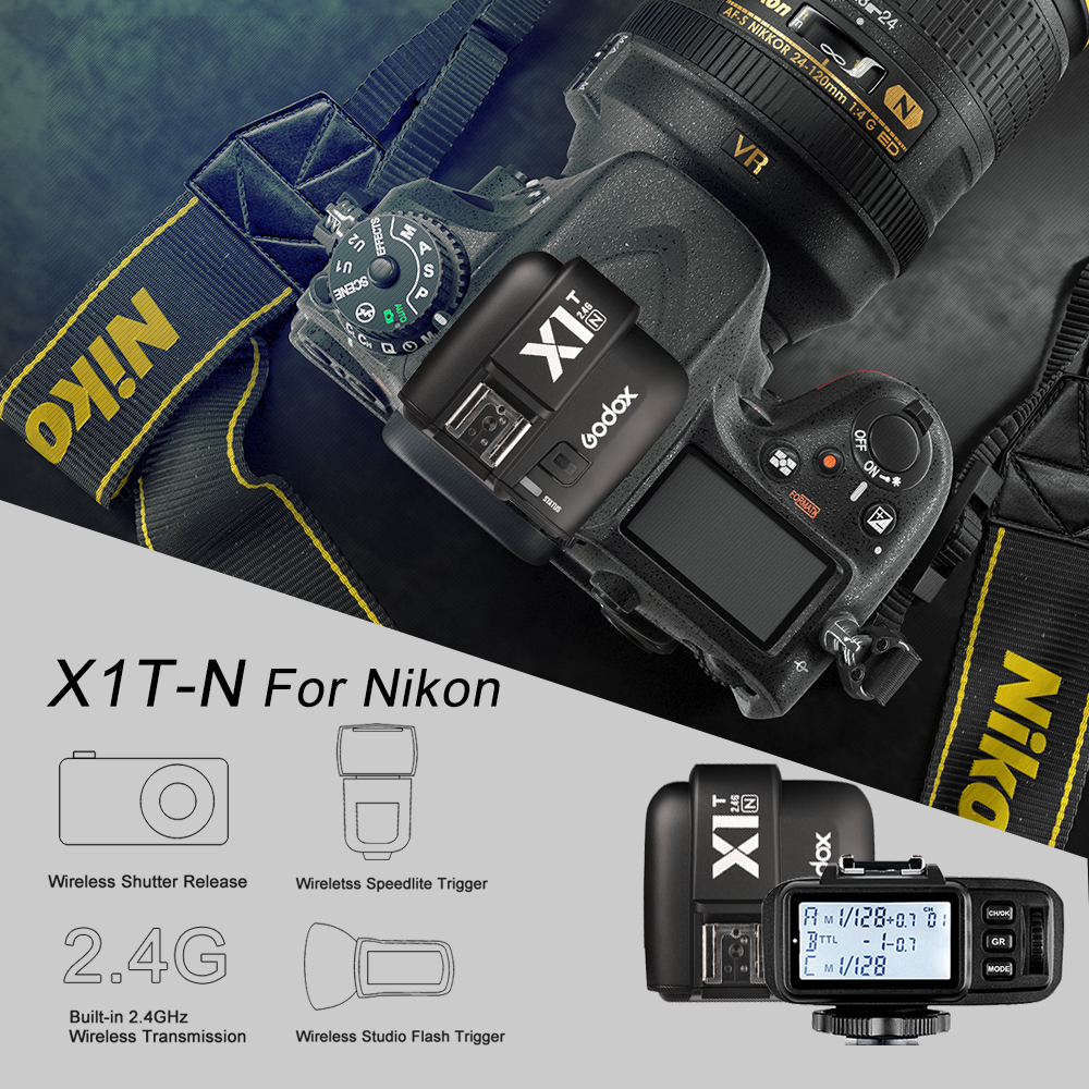 Godox X1T-N i-TTL HSS 1/8000s 2.4G Wireless X System Power Control Flash Trigger with screen Only the Transmitter For Nikon godox x1n i ttl hss 1 8000s 2 4g wireless x system power control flash trigger with screen transmitter receiver kit for nikon
