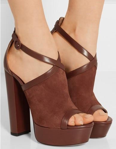 купить Platform Sandals Women Fashion 2019 Women Summer Shoes Suede Leather Peep Toe Chunky Heeled High Heel Women Sandals 14 CM по цене 7456.61 рублей