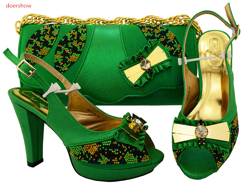 doershow African new Shoes and Bag Sets Italian Shoes with Matching Bags High Quality Women Shoe and Bag To Match Party !HSK1-12 beautiful italian shoes with matching bags to match new african shoes and matching bag sets for wedding doershow hvb1 49