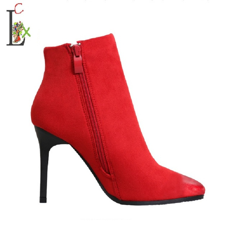 Women Boots Ankle High Heels 2017 Fashion Red Shoes Woman Platform Flock Buckle Winter Ladies Shoes Female pumps Femininas xiaying smile summer new woman sandals platform women pumps buckle strap high square heel fashion casual flock lady women shoes