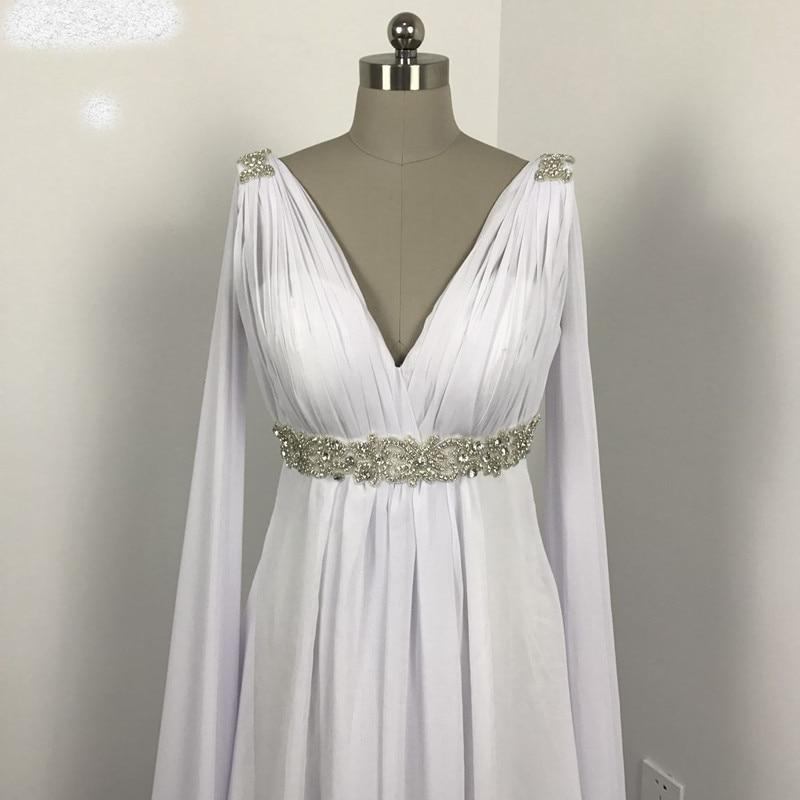 Greek Style Wedding Dresses With Watteau Train 2018 V Neck Long