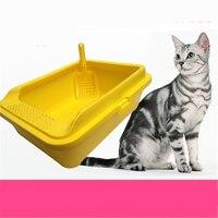 Rác Hộp Mèo Lớn Nhà Vệ Sinh Kèm Theo Xẻng Đóng Khay Nhựa Pets Dog Cat Hộp Nhà Vệ Sinh Rác Cát Bô Dẹt Lưu Vực WC Nip QQM2398