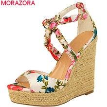 MORAZORA 2020 nouvelles femmes sandales imprimer mode compensées plate forme sandales chaîne été style bohème fête mariage chaussures femme