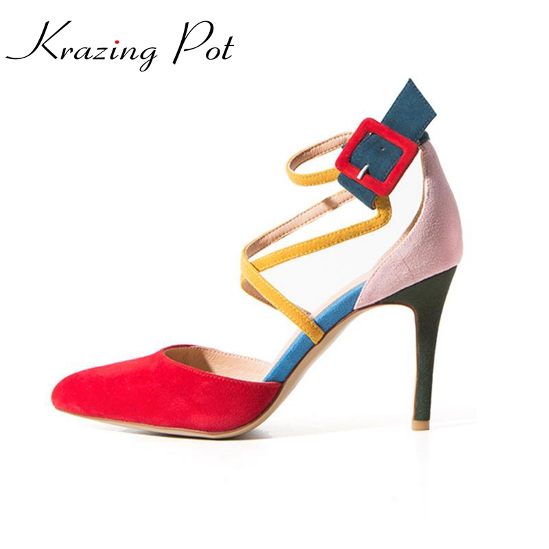 2017 fashion brand shoes pointed toe high heel mixed colors ankle strap buckle modern women pumps sheep suede office lady L30 plus size 33 42 pointed toe genuine leather buckle mixed colors fashion casual high heel shoes platform high quality women pumps