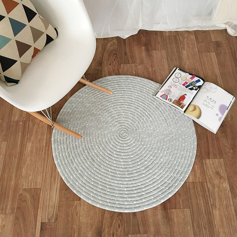 EHOMEBUY Carpet Grey Solid Color Round Carpet Chenille Woven Carpet Hand Made Floor Protection Parlor Living Room New Arrival