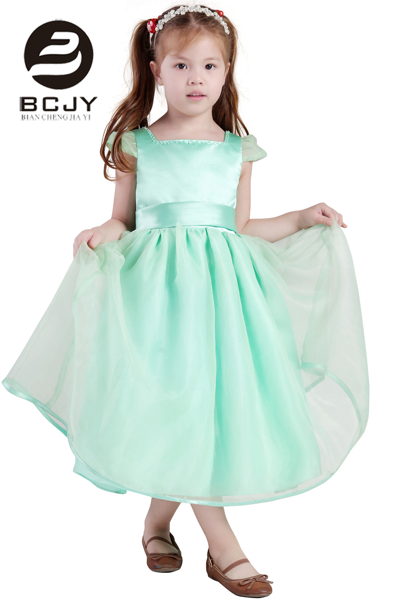 Simple Design A Line Green Satin and tulle Square Collar   flower     girl     dress   with   flower   Summer   Dress   For Children Custom Made