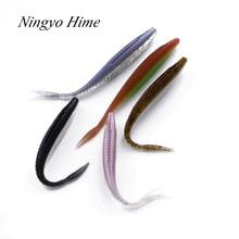 Ningyo Hime5pcs / lot Dubultās krāsas mīkstās ēsmas zivju makšķerēšana 10cm / 4.7g mīksta silikona mākslīgā āda plastmasas lure karpu mīksta lure