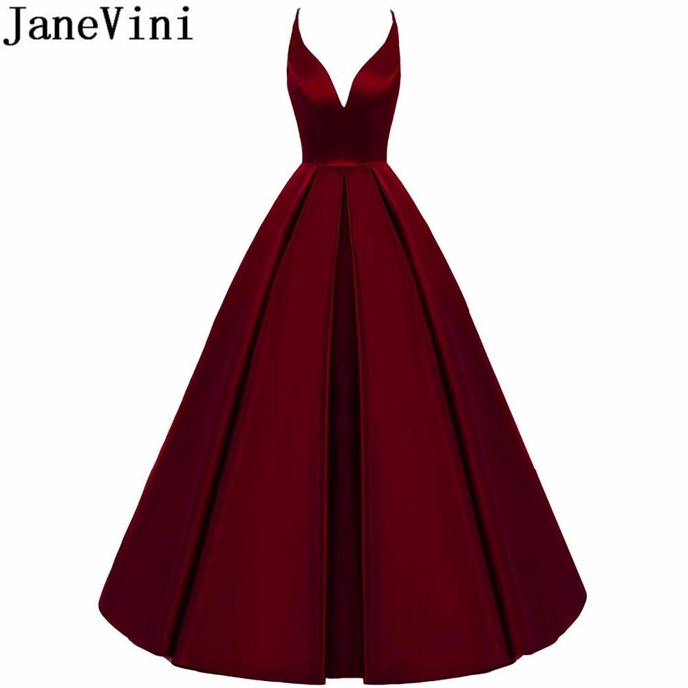 JaneVini Cross Back Burgundy   Bridesmaid     Dresses   Long A Line V-Neck Satin Prom Formal Wedding Party   Dresses   2019 Floor Length