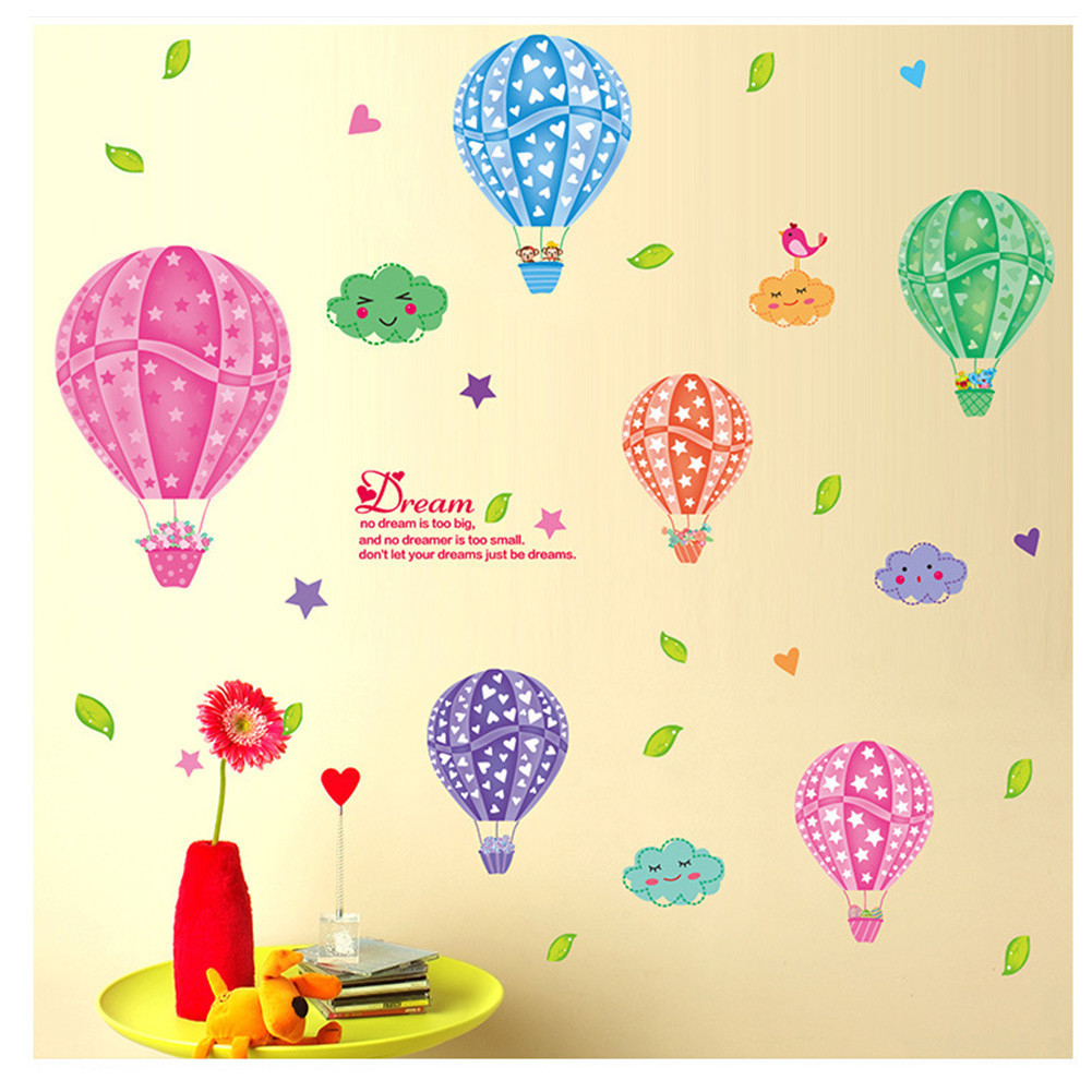 Colorful Hot Air Balloons Cloud Wall Stickers Cartoon Children\'s ...