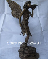 19 Western Art Rzeźbione piękny Anioł Angell Dziewczyna rzeźba Statua z Brązu Miedzi