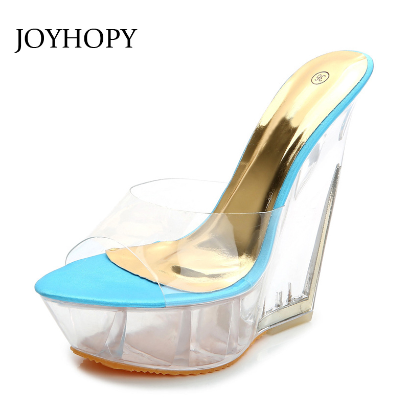 e360ccd6 Ws1676 Grueso Talón Joyhopy Apricot Del Sandalias pink Zapatillas Verano  Cuñas 15 blue Extraño Impermeables Inferior Cristal Cm Transparente Alto ...