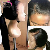 Elva Hair Human Hair Full Lace Wigs Pre Plucked Natural Hairline With Baby Hair Straight Brazilian Remy Hair Wigs Bleached Knots