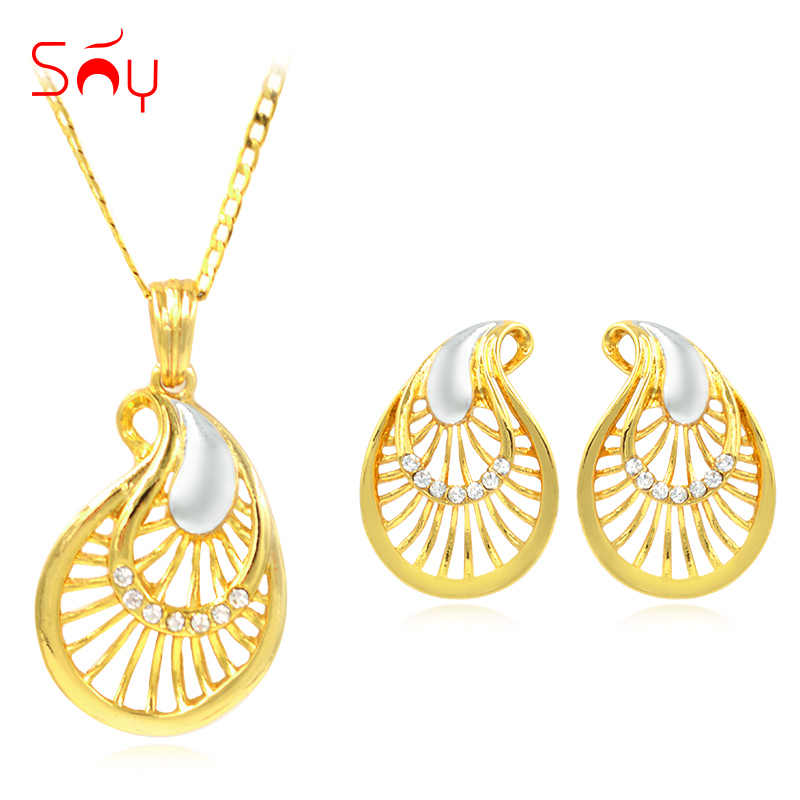 Sunny Jewelry Alloy Fairy Eyes Cubic Zirconia Fashion Jewelry 2019 Women's Necklace Earrings Pendant Jewelry Sets For Party Gift
