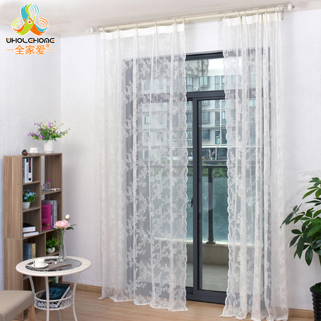 geborduurde sheer gordijnen gehaakte lace raam gordijnen pastorale bloem patroon decoratieve woonkamer keuken raam gordijnen