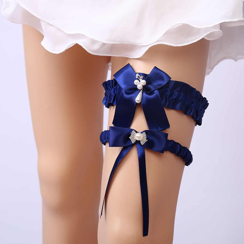 2pcs/set Wedding Garter Navy Blue Pearl Bowknot Ribbon Sexy Garters for Women/Female bridal Thigh Ring Bridal Leg Garter
