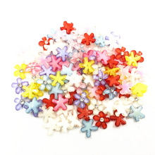 Acrylic Flat Back Cameo Cabochon Decoration Flower With Rhinestone Fashion Jewelry DIY Findings Mixed Colorful 10x2mm 100Pcs