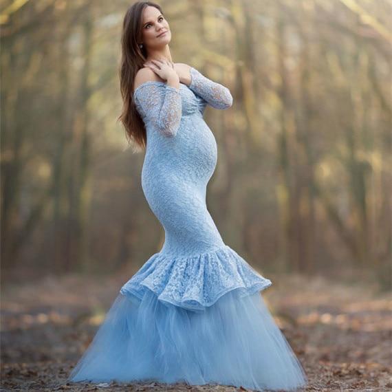 9419c1ea8598e Clobee 2017 Sheath Off Shoulder Long Sleeve Lace Patchwork Sexy Maternity  Dress Maxi Long Ruffles Dresses For Photo Shoot S143