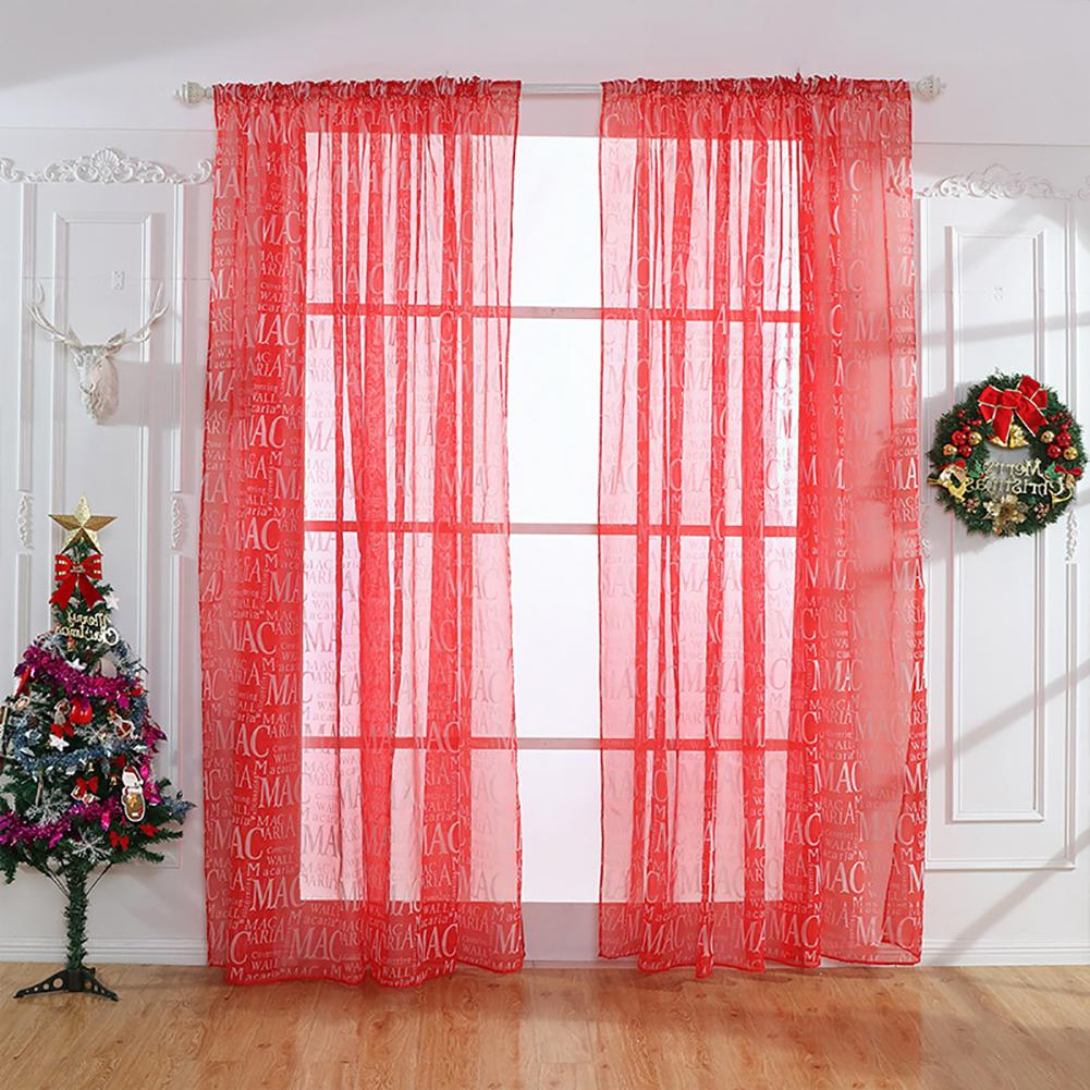 44 Blue Curtain Designs Living Room Sheer Curtain Ideas: Hot Sale Letters Printed Window Curtain Tulle Voile Sheer