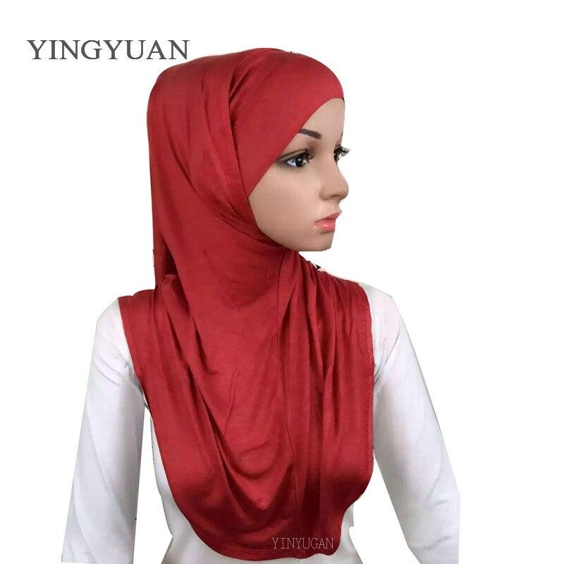 LJ6 модальный Двухсекционный мусульманский хиджаб шарф модный хиджаб оголовье шарф