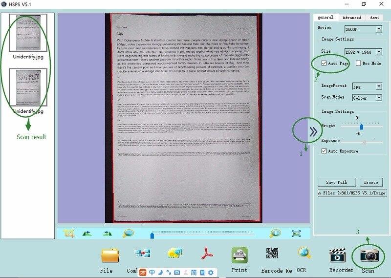 Varredor portátil do documento de eloam a2