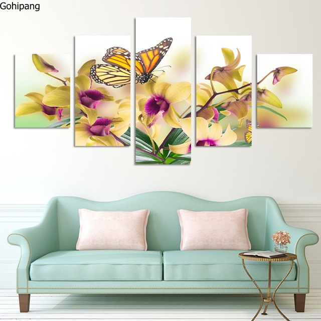 Us 26 99 No Frame Paintings Fashion Design 5 Panel Modern Wall Painting Flowers Home Art Picture Paint On Canvas Prints Orchid In Painting