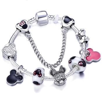 Cute Mickey Mouse Themed Bracelet Bracelets Jewelry New Arrivals Women Jewelry Metal Color: 10 Length: 20cm