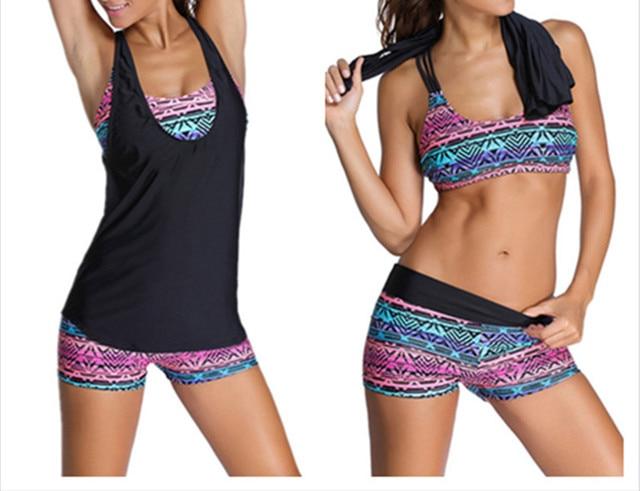 2017 New Women Swimwear Sexy Swimsuit Tankini with Shorts Sporty Bathing Suits Women Three Pieces Bikinis Plus Size XXXL E831