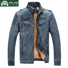 Winter Leather Jacket Men Thicken Wool Liner Warm Mens Jackets Solid M