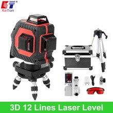 KaiTian 3D Laser Level Stativ Außen mit Tilt Slash Funktion und 360 Rotary Selbst Leveling 650nm EU Laserstrahl Cross Line Ebene