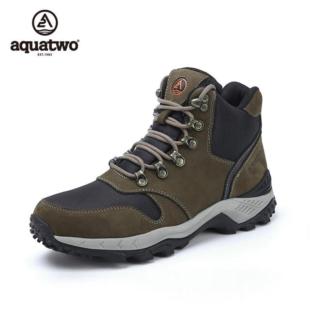 AQUATWO Homens Novas Botas Grain Completa Couro Sapatos de Trekking Ao Ar Livre Sapatos Trekking Impermeável Anti-slip do Inverno dos homens sapatos