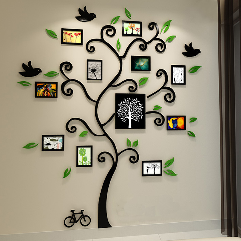 Beautiful Photo Frame Tree Design 3D Acrylic Wall Stickers Room Cafe Shop Wall  Decorations DIY Sticker In Wall Stickers From Home U0026 Garden On  Aliexpress.com ...