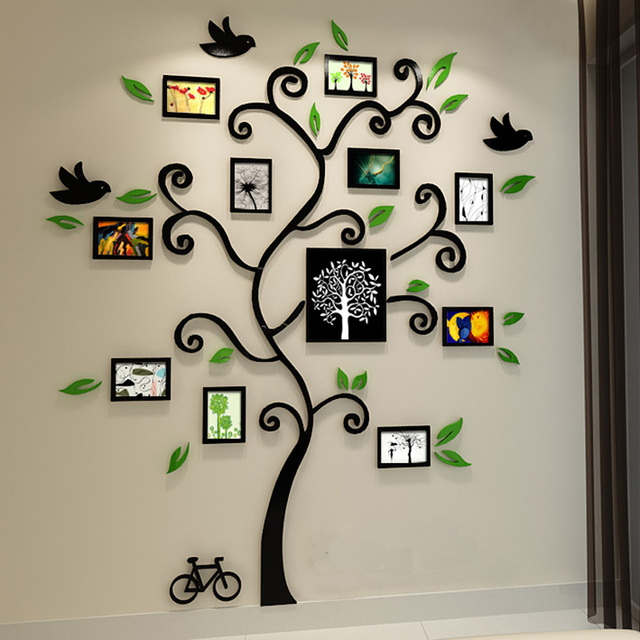 Beautiful Photo Frame Tree Design 3D Acrylic Wall Stickers Room Cafe Shop  Wall Decorations DIY Sticker