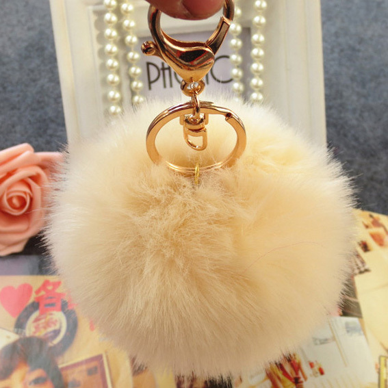 2016 Fashion new design factory price Fake fur key chain faux fur