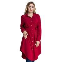 M-6XL vitiana 2017 الخريف المرأة زائد حجم قميص عارضة اللباس الأسود النبيذ الأحمر طويلة الأكمام أنيقة ثوب فضفاض مع حزام