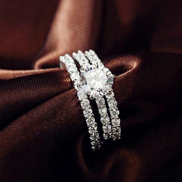 Sparkling Luxury 3 Circles Ring 7 5mm 1 75ct Round Cz 6 G Three Triple Band