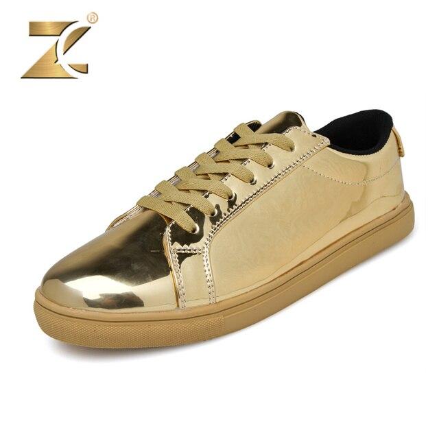Z 2017 Glossy Patchwork Men Casual Shoes Top Brand European Men Shoes Luxury Gold Design Lace-up Walking Footwear Men Size 39-44